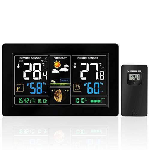 ZILI Funkwetterstation mit hochauflösender Farbanzeige, Alarme, Wettervorhersage, Temperaturwarnungen, Luftfeuchtigkeitsmonitor, Wecker inklusive Außensensor für Zuhause, Büro