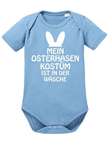 clothinx Baby Body Unisex Ostern Mein Osterhasenkostüm ist in der Wäsche Himmelblau/Weiß Größe 86-92