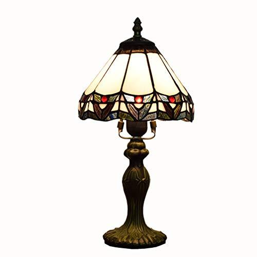 LXHK Lámpara de Mesa de Vidrio Manchado, 8 Pulgadas Barroco Europeo Base de Metal Tiffany...