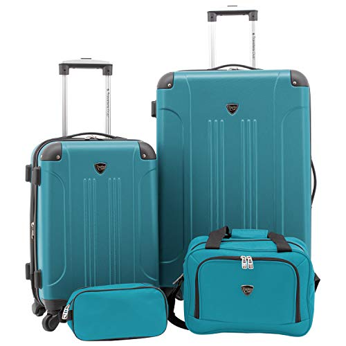 Travelers Club 4 Piece Set Chicago Plus Luggage and Accessories Set, Teal Option