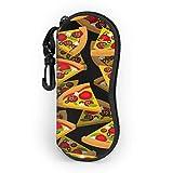 Pizza Étui à lunettes de soleil 3D souple pour homme et femme Ultra léger Portable avec mousqueton