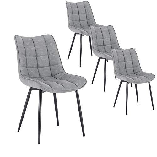 WOLTU 4 x Esszimmerstühle 4er Set Esszimmerstuhl Küchenstuhl Polsterstuhl Design Stuhl mit Rückenlehne, mit Sitzfläche aus Kunstleder, Gestell aus Metall, Grau, BH207gr-4