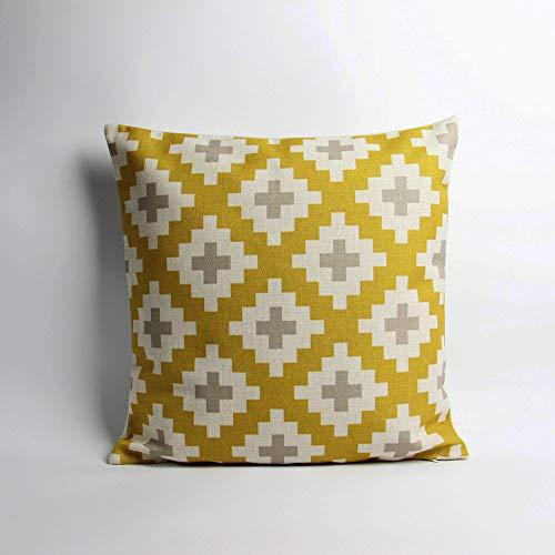 Lplpol Canvas Pillow Cover Golden Kilim Diamond Decor Cushion Cover Geometric Decorative Pillow Cover Cross Personalized Decor Pillow Case 26 x 26 Inch for Living Room,Couch and Bed