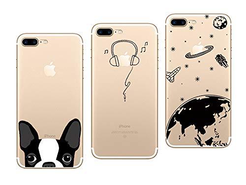 """NOVAGO Compatibile con iPhone 7,iPhone 8 (4,7"""") Confezione di 3 custodie del Gel di Silicone Resistente(Pack #1)"""