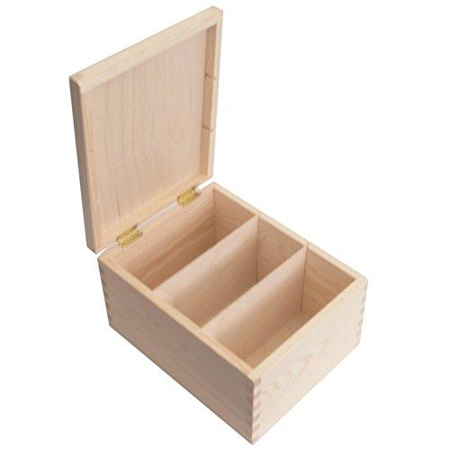 SearchBox Rechteckige Aufbewahrungsbox mit Unterteiler aus Holz; ideal für Fotos/Buchstaben/Post Cards/Geburtstag/Weihnachten Karten/CD \'s
