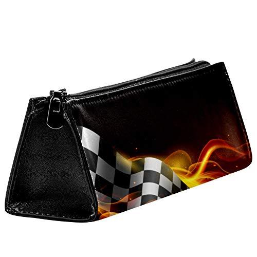 EZIOLY Finish Karo-Flaggen mit Feuerstifte-Tasche, Stifteetui, Kosmetiktasche, kompakt, mit Reißverschluss