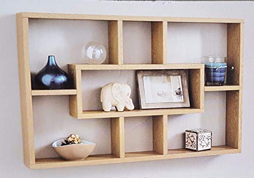 spot on dealz Stylish And Attractive Space Saving Multi-Compartment Wall Shelf/Shelves Display Unit (Oak)