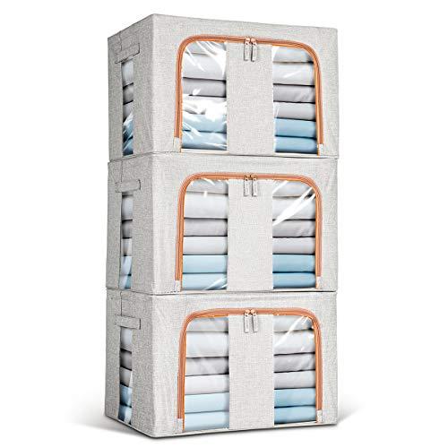 Lesfit 3er-Set Aufbewahrungsbox Aufbewahrungskiste Stoff mit Deckel, Faltbox Stoffbox Aufbewahrung, 66 Liter