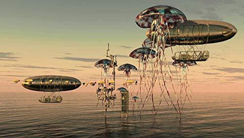 ZGNH Pintar con numeros Adultos niños y Principiantes con Pincel y Pinturas Pintura por números 16 * 20 Pulgadas(sin Marco) Decoración del Hogar Regalo - Las Medusas se vuelven surrealistas