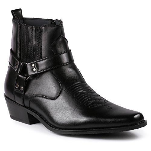 Metrocharm Diego-02 Men's Belt Strap Studded Western Cowboy Boots (11 D(M) US, Black)