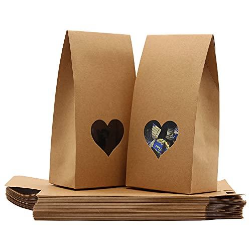 La Llareta Bolsas Papel Kraft, 25 Piezas Bolsas Papel Regalo, Bolsa De Regalo De Fondo Plano, con Ventana En Forma De Corazón, para Bodas Y Fiestas (Marrón)
