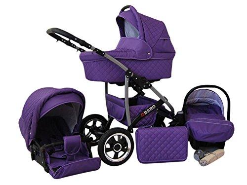 Lux4Kids Q Baro 3 in 1 Cochecito Combinado (asiento del coche incluye adaptadores, cubierta para la lluvia, mosquitero, ruedas giratorias 9 colores) 09 violeta