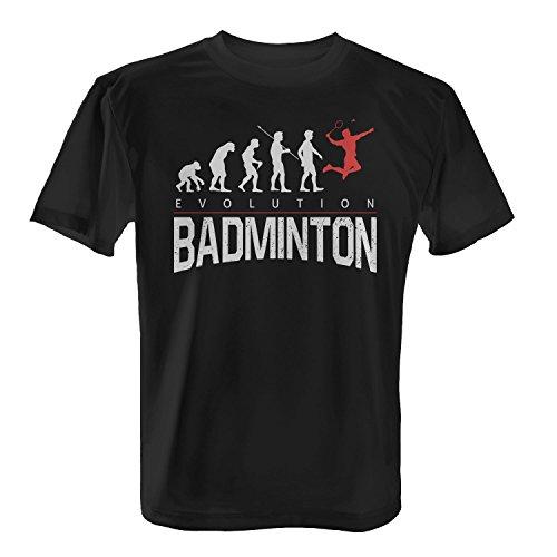 Fashionalarm Herren T-Shirt - Evolution Badminton | Fun Shirt mit lustigem Motiv als Geschenk Idee für Federball Badminton Spieler Sport Hobby, Farbe:schwarz;Größe:XS