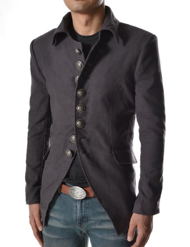 737 THELEES Mens Luxury UNIQUE Style Slim fit 8 Button Front Blazer Jacket CHARCOAL US M(Tag size XL)