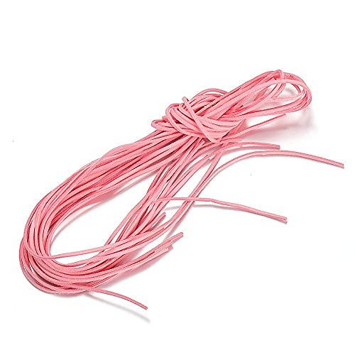 QA - 10 cuerdas de gamuza de 2 a 3 mm de colores, cuerda de nailon, material de pulsera de varios hilos, accesorios para hacer joyas Y906 (color rosa, 10 unidades)