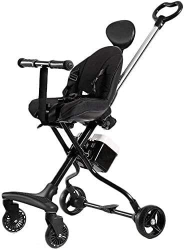 Cochecito de bebé recién nacido liviano Viaje por silla para niños pequeños, cochecito de cochecito plegable compacto con luz de nacimiento a 25 kg (Color : Black)