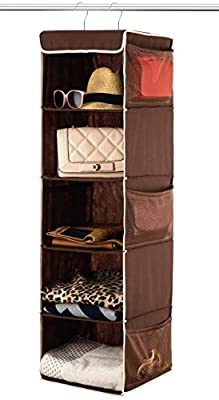Zober 5 Shelf Hanging Closet Organizer Space Saver, Roomy Breathable Hanging Shelves With (6) Side Accessories Pockets, And 2 Sturdy Hooks, For Clothes Storage, And Shoes, Etc. 12 x 11 ½ x 42 In, Java from Zober