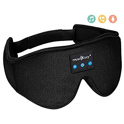 Sleep Headphones Bluetooth Sleep Mask, MUSICOZY Wireless Music Eye Mask with Sleeping Headphones for Side Sleepers, Air Travel, Meditation, Built-in Ultra Soft Thin Speakers Microphone Washable by Sleep Headphones