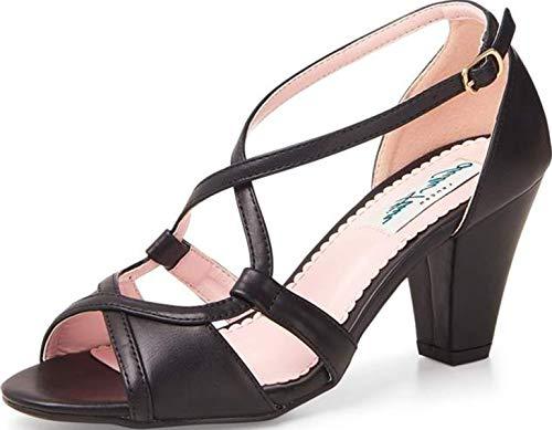 Lulu Hun Damen Schuhe Savannah Vintage 50s High Heels Pumps Schwarz Peep Toe 41