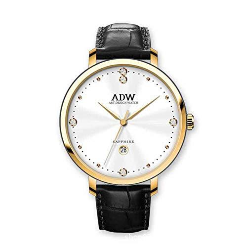 Rebily 2021 Flowing Planet Air Damenuhr Rose Gold Leder Band Uhr Einfache Stil Quarz Frauen Mode Uhr 30m Wasserdicht (Color : Schwarz)