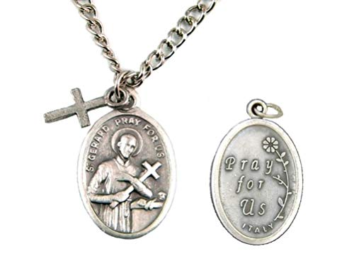 St. Gerard Patron Saint of Expecting Mothers Oval Pendant Necklace with Cross w/Prayer Card TVT-621-1