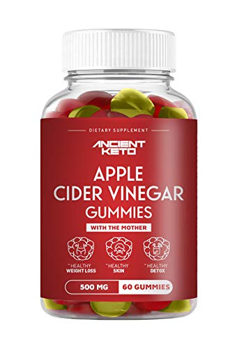 Ancient Keto Apple Cider Vinegar Gummies with The Mother - Supports Healthy Weight Loss, Healthy Skin, and Healthy Detox - 500mg Apple Cider Vinegar per serving (2 Gummies) - 60 Gummies
