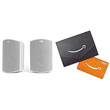 Polk Audio Atrium 4 Outdoor Speakers with Powerful Bass  Pair White  All-Weather Durability Broad Sound Coverage Speed-Lock Mounting System and $20 Amazon.com Gift Card
