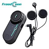 FreedConn T-COMVB BT 800M 500M/0.3MI - Casco para motocicleta con auriculares de comunicación Bluetooth para moto, equitación, esquí, 2–3personas (1unidad con cable duro)