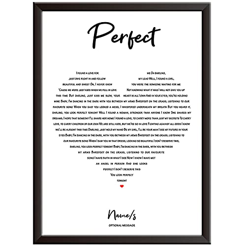 PERSONALISED Song Lyrics Wall Art Print - ANY SONG - HEART - Gift idea for wedding, first dance,...
