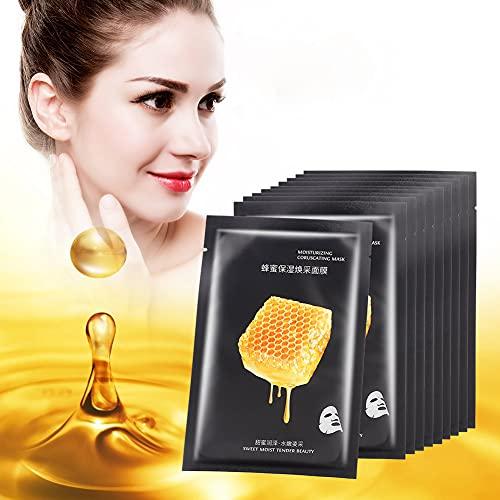 Paquete de 10, hoja para el cuidado de la piel facial, mascarilla facial ultrafina hidratante concentrada nutritiva de miel para pieles secas, grasas, sensibles y cansadas 25ml / 0.8oz