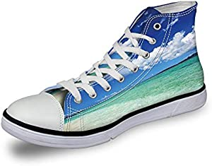 High Top Classic Casual Canvas Sneakers Lace ups Casual Walking Shoes,Isometric Summer Lettering Ocean and Swimming Pool Fun at Beach Umbrellas Ball - Womens