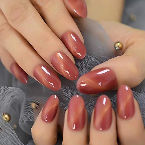 Wangguifu Coral Red Cat'S Eye Press Nail Full Package Oval Medium False Nail Fashion Hand Glue 24Pcs Nail Set