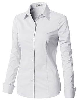 EZEN Womens Best Women s Dress Shirts Slim fit White Medium