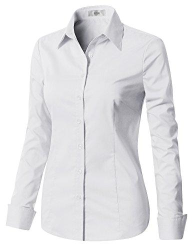 EZEN Womens Best Women's Dress Shirts Slim fit White Medium