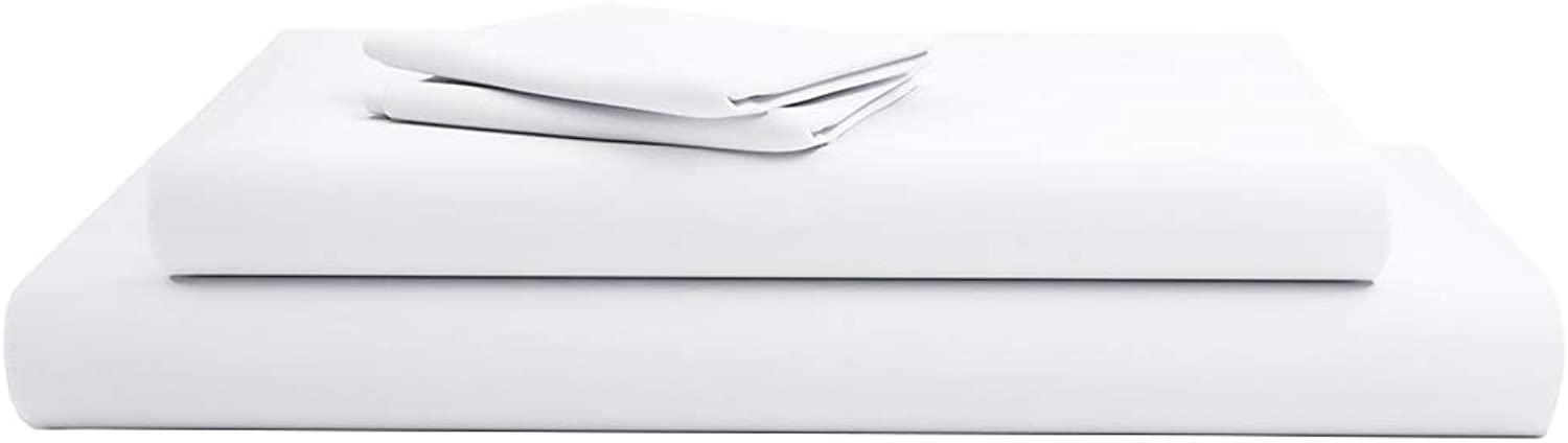 800 Thread Count 100% Extra-Long Staple Cotton, 4 Piece Bed Sheets Set, Luxury Bedding, Fits Mattresses up to 15-16 inches deep, Thick,Denser & Havier Sheets- (Queen Sheets -White Solid)