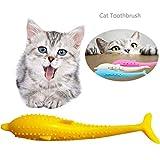 Sunshine smile silikon Haustier Katze fischform zahnbürste,Fisch Flop katzenspielzeug,Katze Zahnreinigung Spielzeug fischform,silikon Molar Stick katzenminze Spielzeug (Gelb)