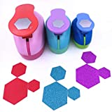 TECH-P Set of 3PCS (2 inch+1.5 inch+1inch) Craft Punch Set Paper Punch Paper Punch Tool Eva Punches for Making Arts Crafts Projects Cards Scrapbooking Garland Hanging Decorations (Hexagon)