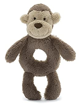 Jellycat Bashful Monkey Soft Plush Baby Toy Ring Rattle