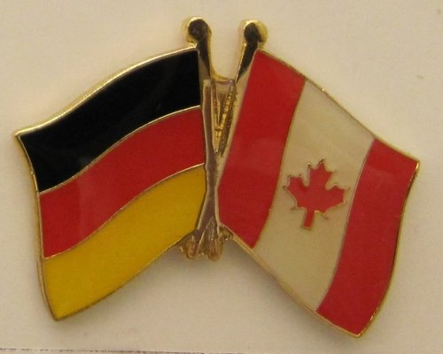 Kanada / Deutschland Fre&schafts Pin Anstecker Flagge Fahne Nationalflagge Doppelpin Flaggenpin Badge Button Flaggen Clip Anstecknadel