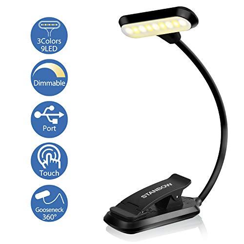 Leselampe Buch Klemme, STANBOW Touch Schalter Klemmlampe USB Wiederaufladbar, 9 LEDs Buchlampe mit 3 Farbtemperatur, 360° Flexibel Augenschutz Mini Dimmbare Klemmleuchte für Arbeiten Zuhause, E-Reader
