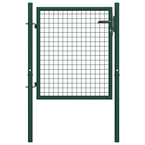 Tidyard Metall Zauntor Gartentor Hoftor Einzeltor Einfahrtstor Zaunfelder, 100x125 cm Grün