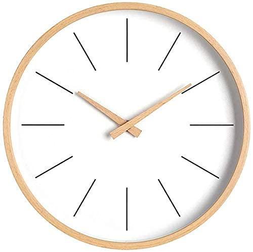 FAQUAN Reloj de Pared silencioso, Reloj de Pared de Madera Decorativo para el Aula de la Oficina en casa, Reloj de Pared fácil de Leer con Pilas