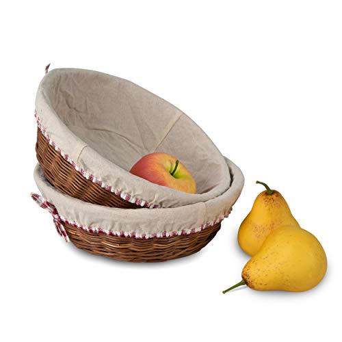 Juego de 2 cestas de mimbre para almacenamiento y cesta de la compra con forro extraíble, cestas de mimbre hechas a mano para picnic, huevo de Pascua, compras, colección de regalos