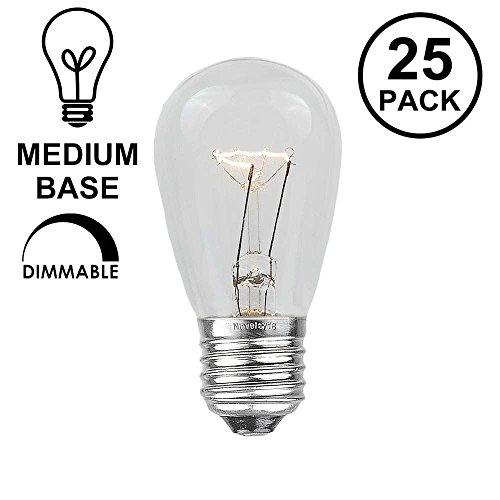 Novelty Lights 25 Pack S14 Outdoor Patio Party Replacement Bulbs, Clear, E26 Medium Base, 11 Watt