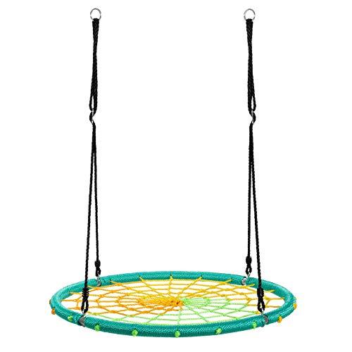 COSTWAY Columpio Nido de Ø100cm Cuerda Ajustable de 100-160cm Columpio Redondo de Niños para Interior y Exterior Jardín Parque Carga hasta 150kg (Verde)