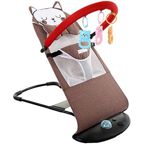 Mecedora Bebe, Columpio De Bebé Plegable Y PortáTil con 4 Velocidades De Columpio, Control De Volumen Y Colgador De Juguetes ExtraíBle Brown