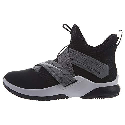Nike Men's Lebron Soldier XII Basketball Shoe (12, Black/White)
