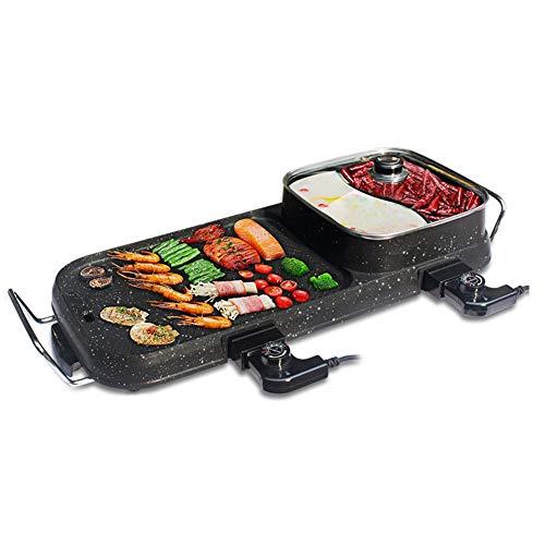 YJIUJIU Table Grill électrique, BBQ Hot Pot Plaque chauffante pour Barbecue sans fumée de Cuisson électrique Convient aux Repas de Famille de 2 à 10 Personnes, 2200W,A