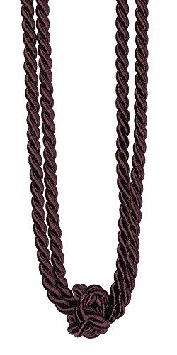 Mein-Gardinenshop Marinella Embrasse de rideau décoratives 60 cm prune