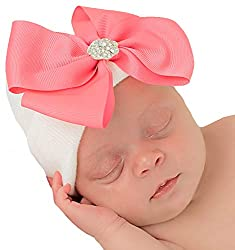 Infant Baby Cap with Big Ribbon Bow and Rhinestone